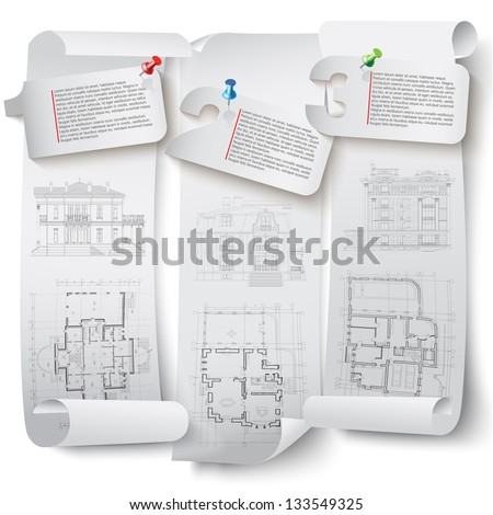 Set of architectural design elements for your business site. Isolated on white background, Vector illustration