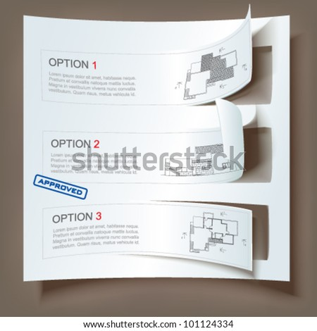 Set of Architectural Web Banners. Isolated on light background. Vector clip-art