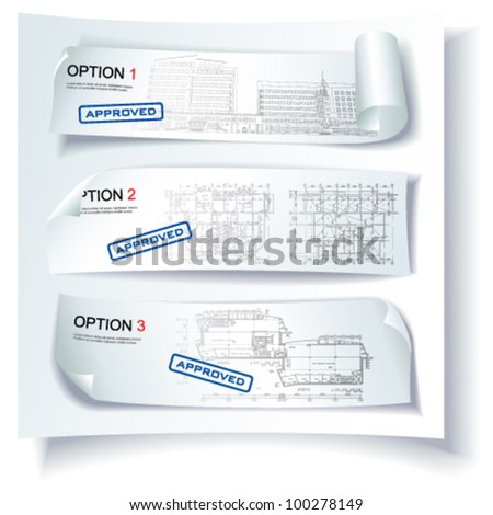 Set of Architectural Web Banners. Isolated on white background, vector clip-art