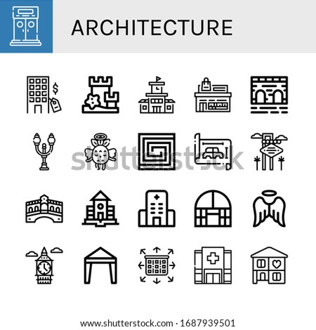 Set of architecture icons. Such as Entrance, Hotel, Sand castle, School, Store, Bridge, Street lamp, Angel, Portuguese, Blueprint, Las vegas, Rialto bridge , architecture icons