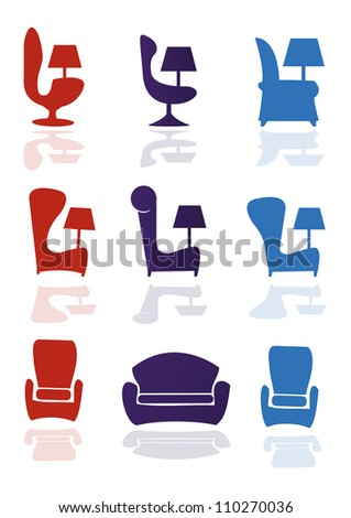 Set of armchair, chair,furniture (vector)