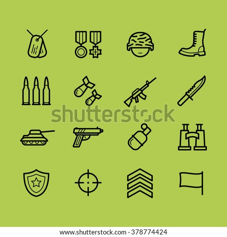 set of army and military icons
