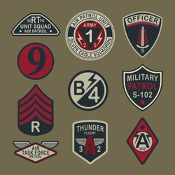 Set of army badge typography, t-shirt graphics, vectors