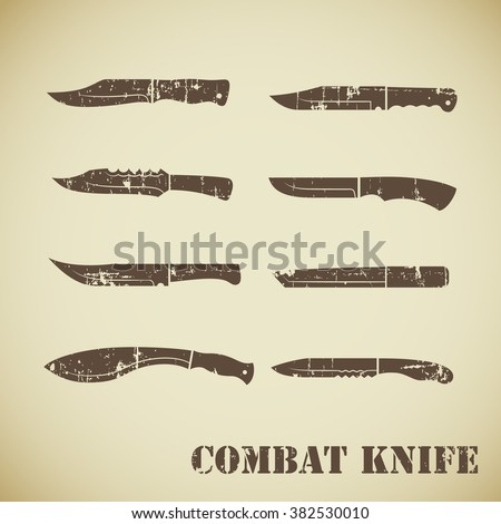 set of army knives icons
