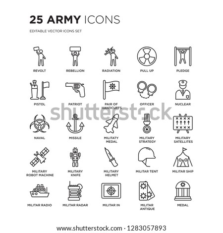 Set of 25 Army linear icons such as Revolt, Rebellion, radiation, Pull up, Pledge, Nuclear, Military Satellites, militar ship, vector illustration of trendy icon pack. Line icons with thin line Foto stock ©