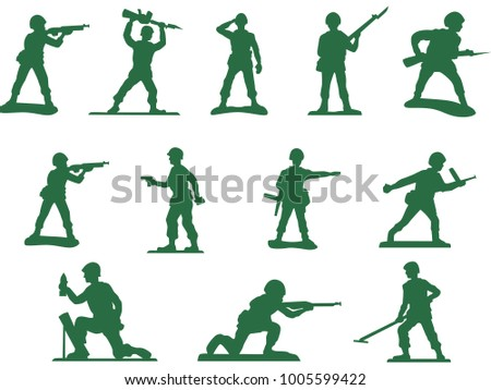 Set of army plastic soldiers silhouettes