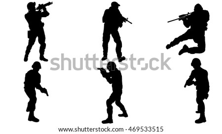 set of army silhouettes