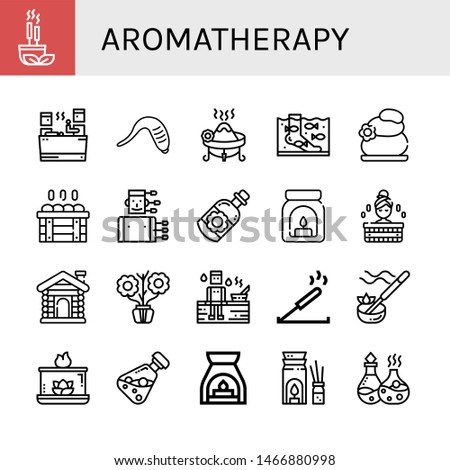 Set of aromatherapy icons such as Incense, Sauna, Leech, Fish therapy, Lithotherapy, Acupuncture, Essential oil, Aroma, Aromatic, Aromatic candle, Aromatherapy , aromatherapy