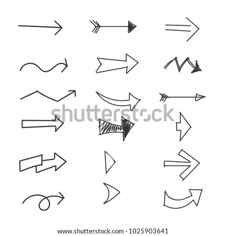 Set of Arrow, doodle drawing on white background #1025903641