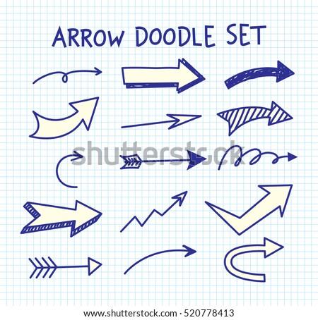 Set of arrow doodle on paper background #520778413