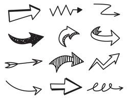 Set of arrow doodle on white background