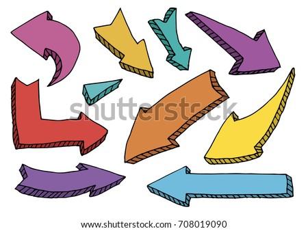 set of arrow doodle on white