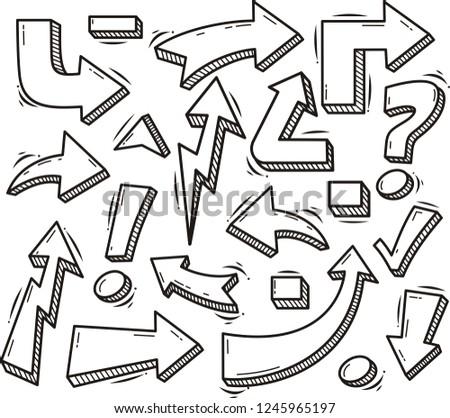 Set of Arrow Hand Drawn
