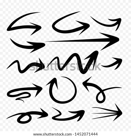 Set of Arrow Hand Drawn Design Element.Vector abstract black hand drawn arrows set on white background