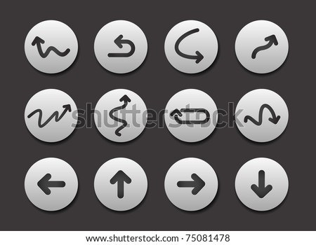 Set of Arrow Icon graphics for web design collections.