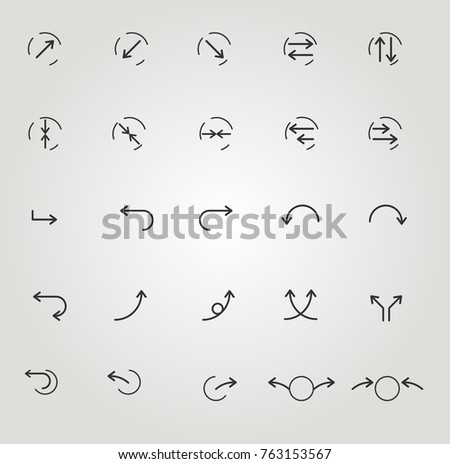 set of arrow icons, fine lines, symbols, modern design