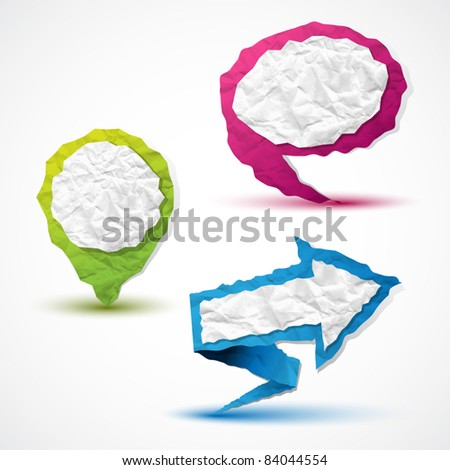 Set of arrow, pointer and bubble speech made in crumpled paper