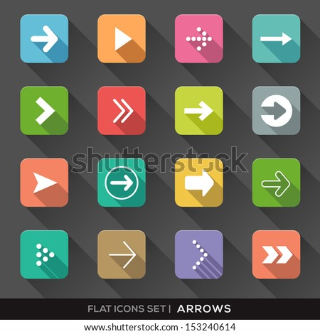 Set of Arrow Sign Flat Icons with long shadow for App / Web / UI / Button / Interface design
