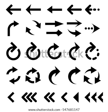 Set of arrow simple icons. Modern pictogram minimal, flat,monochrome, plain, contemporary style. Vector elements for design interface #547681147