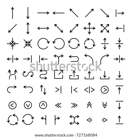 Set of 64 arrow thin line icons. High quality pictograms of direction. Modern outline style icons collection. Recycle, forward, backward, next, traffic, etc.