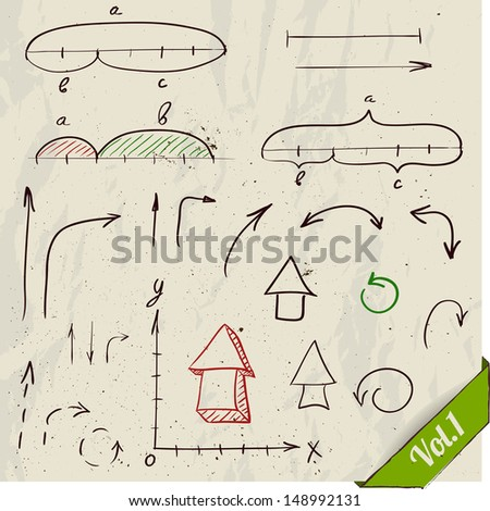 Set of arrows and math elements. Vector illustration EPS8