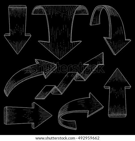 Set of arrows. Hand drawn sketch. Vector illustration on black background