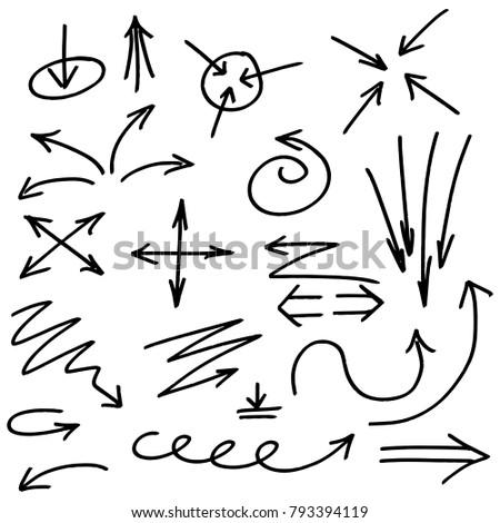 Set of Arrows Illustrated in Grunge Sketch Handmade Marker Doodle Vector Style
