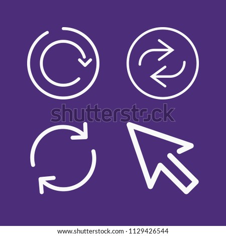Set of 4 arrows outline icons such as reload, repeat, refresh button