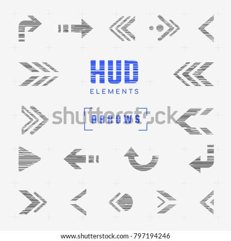 Set of arrows, pointers, directions, navigation. Futuristic interface hud design elements for ui. Stickers, icons and badges for infographics. Glitch effect. Tech and science, web and internet theme.
