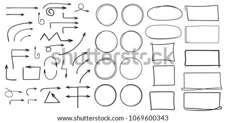 Set of arrows, rectangles, squares, circles, frames, ellipses. Hand drawn style, doodle, sketch, vector illustration.