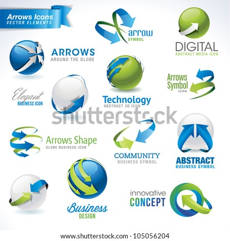 Set of arrows vector icons and elements