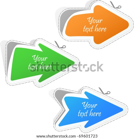 Set of arrows. Vector sticker set.