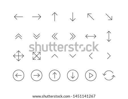 Set of 24 Arrows web icons in line style. Arrow, arrows. Vector illustration.