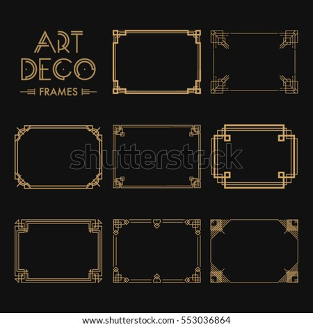 Shutterstock Set of Art deco borders and frames. Creative template in style of 1920s for your design. Vector illustration. EPS 10