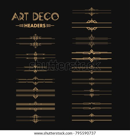 Set of Art deco dividers and headers. Creative template in style of 1920s for your design. Vector illustration. EPS 10