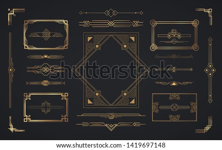Set of Art Deco elements. Vector elements of geometric golden label frame, gold frames, vintage antique elegant design set.