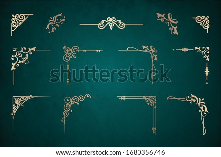 Set of Art deco gold calligraphic page dividers. Vector golden Decorative vintage corners template in style. Set of hand drawn corners and vintage borders. Vector calligraphic lines and wedding frames