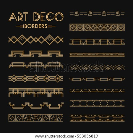 Set of Art deco patterns and ornaments. Creative template in style of 1920s for your design. Vector illustration. EPS 10