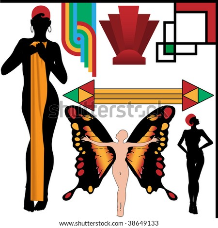 Set of 4 Art Deco People Poses and four vintage retro Abstract Design