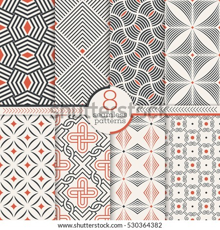 Set of art deco seamless patterns. Stylish modern geometric textures. Repeating geometrical shapes, lines, rhombuses, scales, arcs, dots. Vector abstract backgrounds