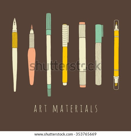 Set of art materials for drawing. Hand drawn vector illustrations of art supplies