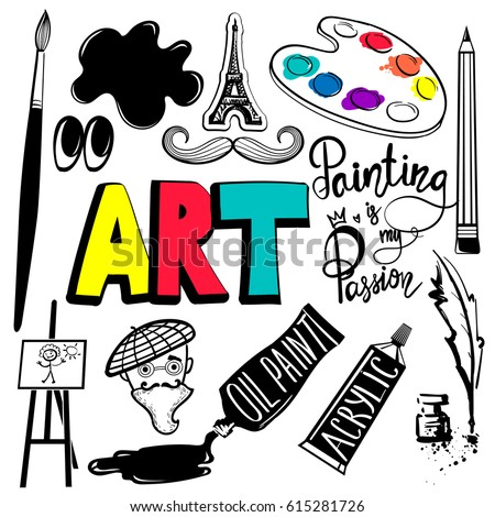 Set of art object. Stationary elements in black and white colors. Painting is my passion. Tube of paint, paint palette, Artistic pen, The head of an artist in a beret, brush, mustache eye, ink