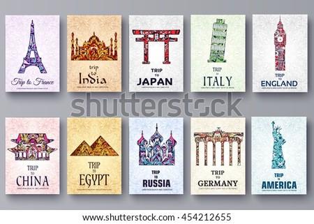 set of art ornamental travel
