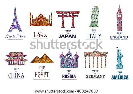 Set of art ornamental travel on ethnic floral style design. Architecture art with logo, label. Historical monuments of France, India, Japan, China, Egypt, Russia, England, Italy, USA, Germany, Mexico