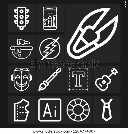set of 13 art outline icons