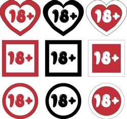 Set of art signs (icons) Eighteen plus, age limit in hand-drawn and cartoon style. For adults only, adult content. Isolated 18+ symbol. Vector illustration