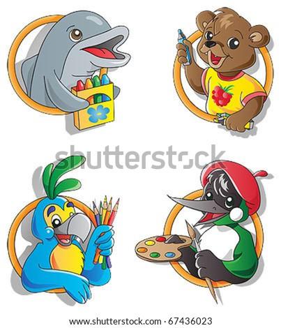 Set of artist animals