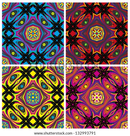 Set of artistic African textile designs. Modern and fancy fabrics with traditional motifs in vector art, seamless
