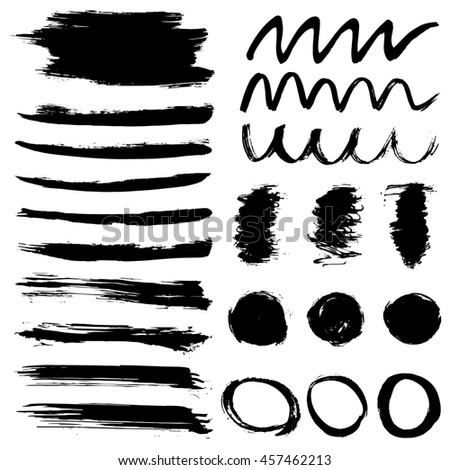 Set of artistic brushstrokes, paint splashes and ink spots. Abstract ink grunge set for design. #457462213