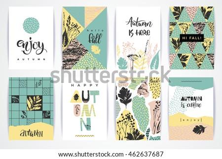 set of artistic creative autumn